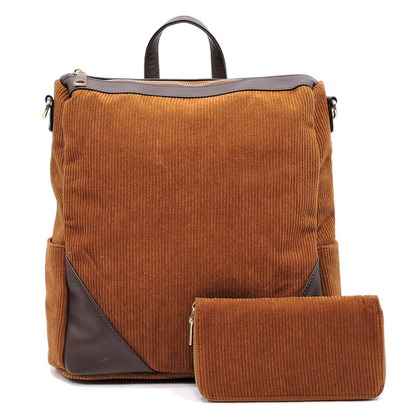 Corduroy Convertible Backpack & Wallet Set [LHU0421W BROWN]