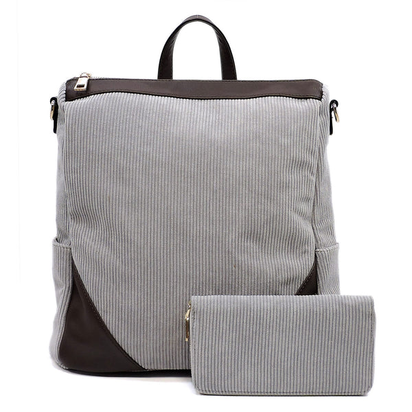 Corduroy Convertible Backpack & Wallet Set [LHU0421W GREY]