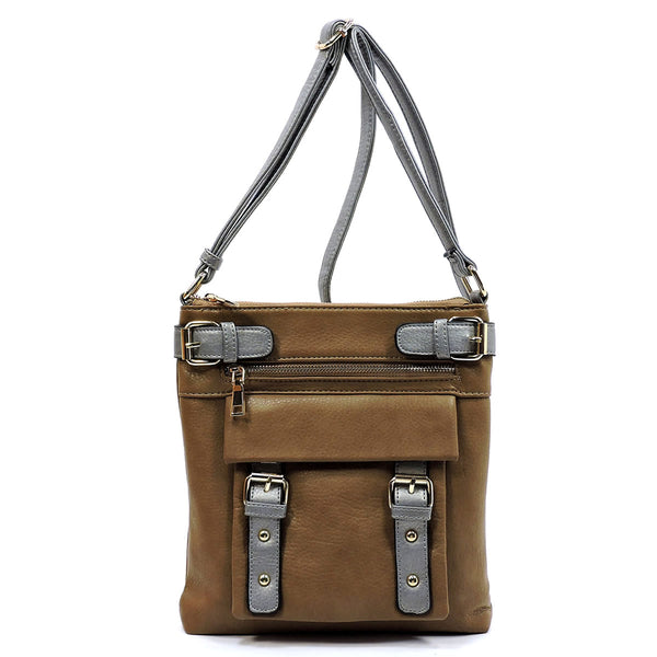 2 Toned Buckle Crossbody Bag [85352 BROWN/DSILVER]