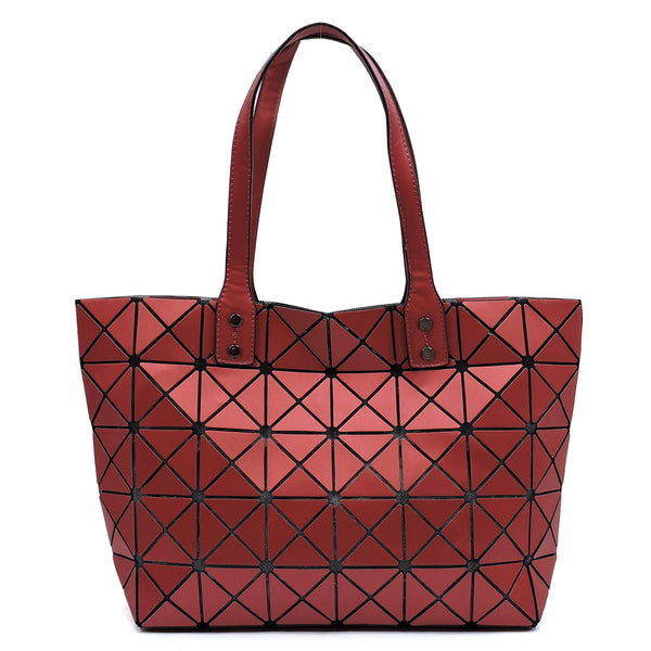 Matte Geometric Checkered Shopper [81017B BURGUNDY]