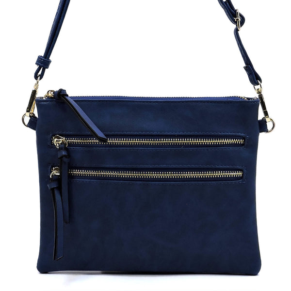 Fashion Multi Zipper Cluch Crossbody Bag [80831B NAVY]