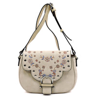 Embroidered Flower Saddle Crossbody Bag [ST511 TAUPE]