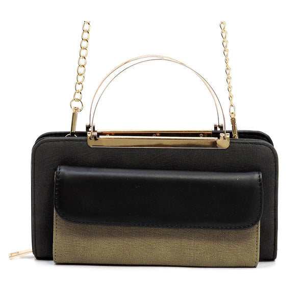 Colorblock Crossbody Bag Clutch Wallet [AC038 BLACK]