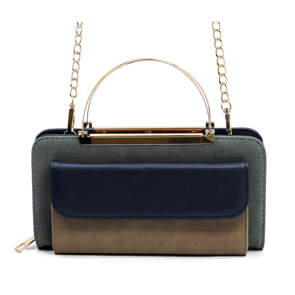 Colorblock Crossbody Bag Clutch Wallet [AC038 BLUE]