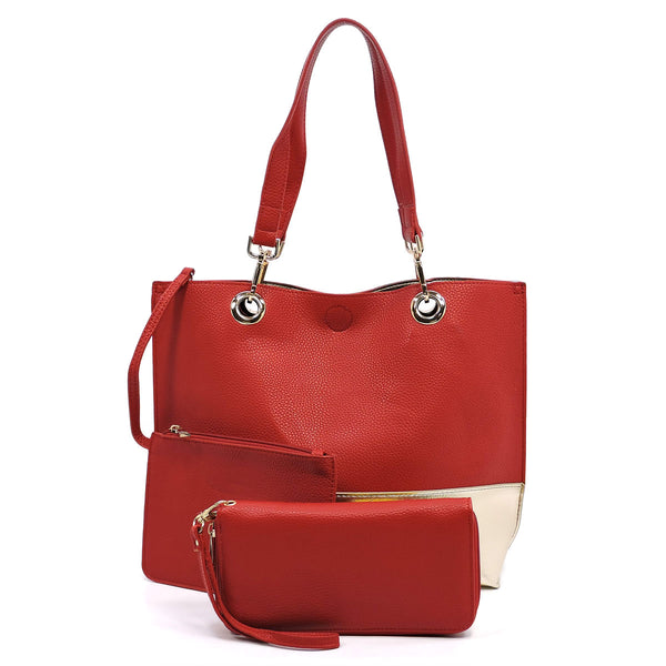Colorblock 3-in-1 Reversible Tote [OM2683 RED]