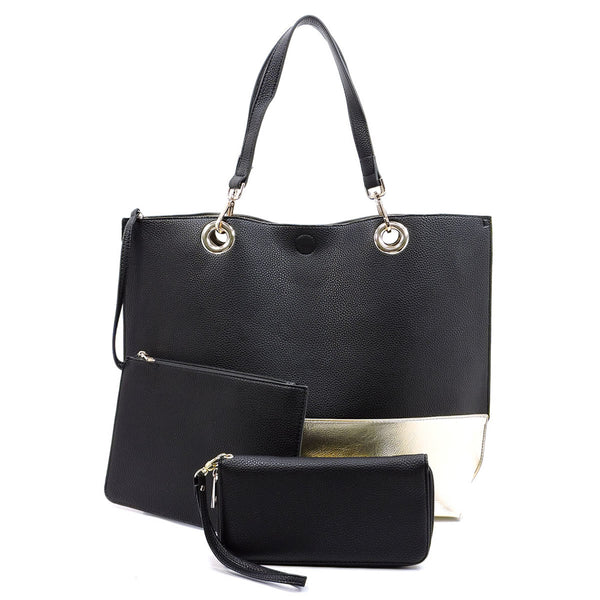 Colorblock 3-in-1 Reversible Large Tote [OM2684 BLACK]