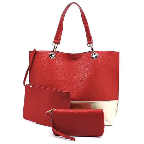 Colorblock 3-in-1 Reversible Large Tote [OM2684 RED]