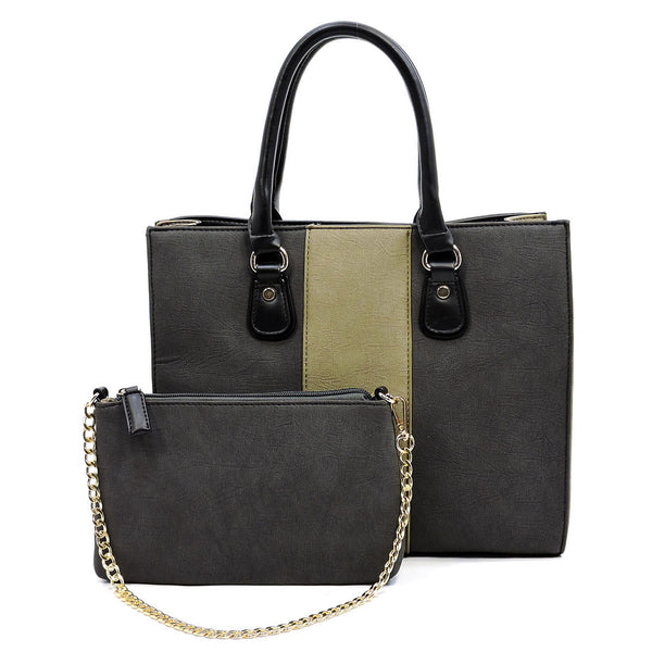 Colorblock 2-in-1 Box Satchel [AC2659 BLACK]