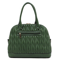 Chevron Quilted Bee Emblem Dome Satchel DX0055 L/GOLD