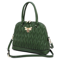 Chevron Quilted Bee Emblem Dome Satchel DX0055 BROWN