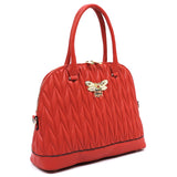 Chevron Quilted Bee Emblem Dome Satchel DX0055 RED