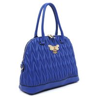 Chevron Quilted Bee Emblem Dome Satchel DX0055 BLUE