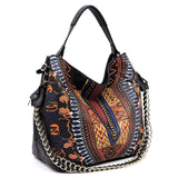 Dashiki Bohemian Chain Shoulder Bag D0443 BLACK