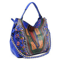 Dashiki Bohemian Chain Shoulder Bag D0443 ROYAL BLUE