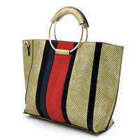 Fashion 3-in-1 Large Shopper & Perforated Stripe Satchel F0269 L/GOLD