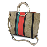Fashion 3-in-1 Large Shopper & Perforated Stripe Satchel F0269 STONE
