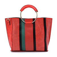 Fashion 3-in-1 Large Shopper & Perforated Stripe Satchel F0269 RED