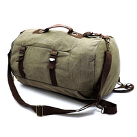 Military Canvas Cylinder Backpack Duffle CA003 BLACK