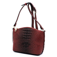 Crocodile Crossbody Bag LHU166 BURGUNDY