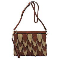 Two Tone Layered Leaf Crossbody Clutch Wristlet LY112 BROWN