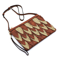 Two Tone Layered Leaf Crossbody Clutch Wristlet LY112 STONE
