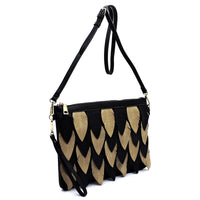 Two Tone Layered Leaf Crossbody Clutch Wristlet LY112 BLACK