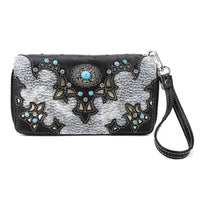 Western Turquoise Flower Zip Around Wallet [DDL300-BLACK]