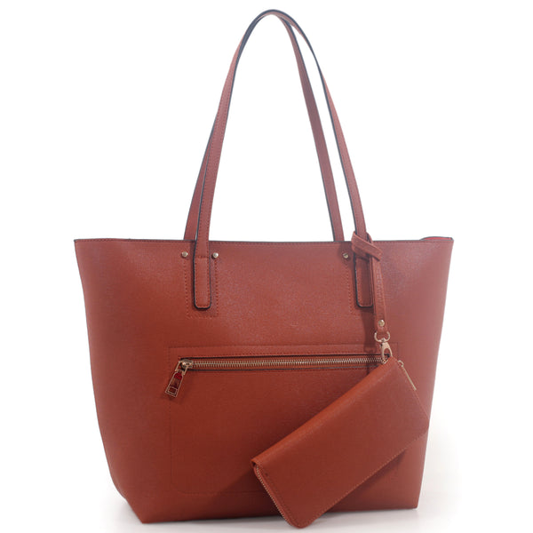 Front Zip Pocket Shopper & Wallet Set [DF1205BR-ORANGE]