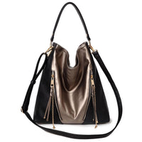 Fashion Zipper Colorblock Shoulder Bag [DH234-BLACK]