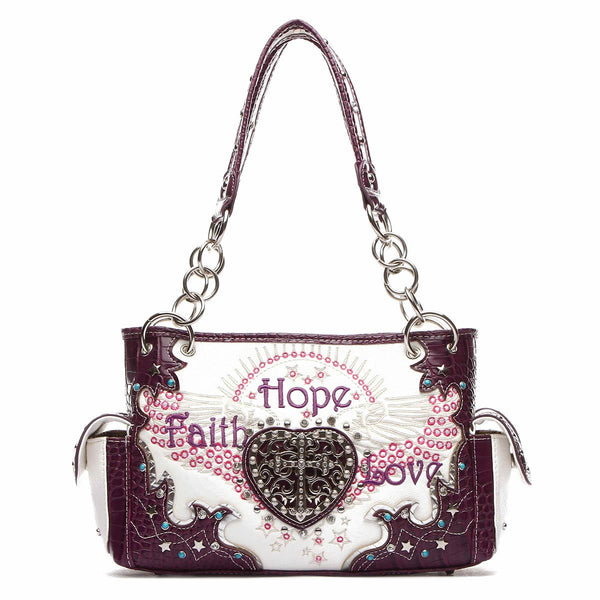 Faith Hope Love Western Cross Shoulder Bag [FHL38469 PURPLE]