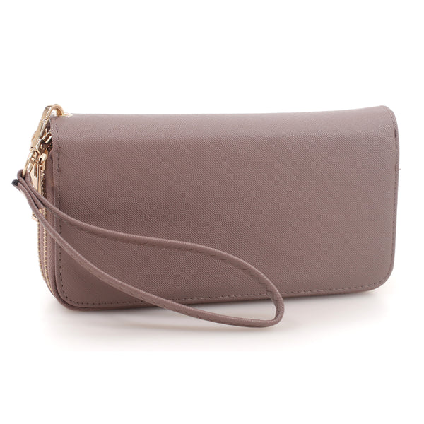 Textured Faux Leather Zip Around Wallet Wristlet [FTW0095B-COFFEE]
