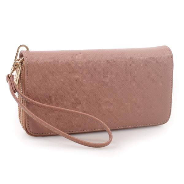 Textured Faux Leather Zip Around Wallet Wristlet [FTW0095B-TAN]
