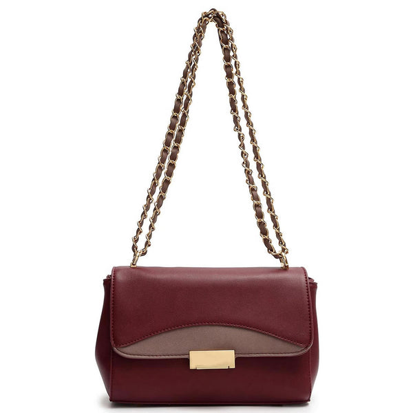 Classic Colorblock Flap Shoulder Bag [HNA2048-BURGUNDY]