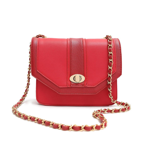 Colorblock Twist lockFlapover Crossbody Bag [HNA2050-RED]