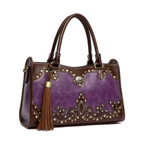 Western Flower Concho Boxy Satchel LEA5657 PURPLE