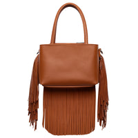 Top Handle Fringe Satchel MAW5745 BROWN