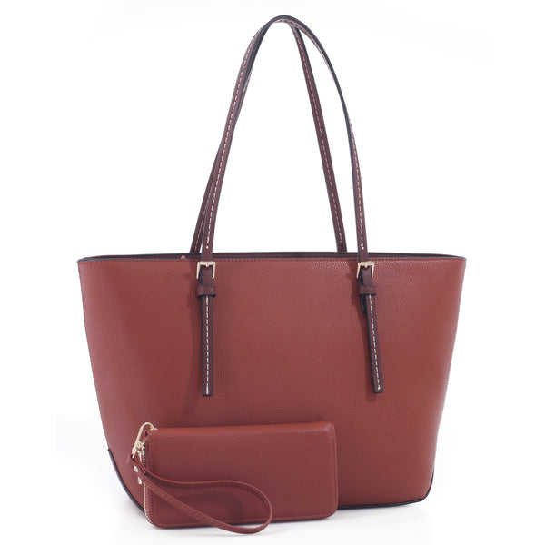 Pebble Textured Shopper Tote & Wallet Set [MS1266-BROWN]