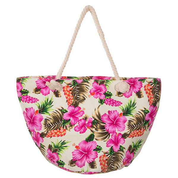 HIBISCUS PRINT EXTRA LARGE CANVAS DAY TOTE [HBG54565-WHITE]