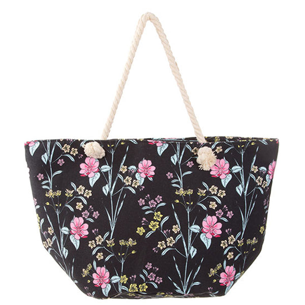 WILD FLOWR PRINT EXTRA LARGE CANVAS DAY TOTE [HBG54566-BLACK]
