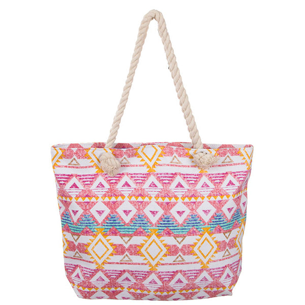 AZTEC PRINT CANVAS DAY TOTE [HBG54602-MULTI]