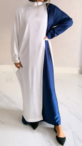 Off-white & Night Blue Silk Caftan