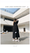 BLACK OVERSIZED SIDE-LOGO COAT