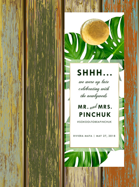 monstera palm leaf do not disturb wedding door hanger