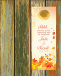 Autumn fall leaves do not disturb wedding door hanger favor