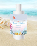 (sku411b) sunscreen label | ocean coral | travel size | beach destination wedding | party favor - Best Welcome Bags