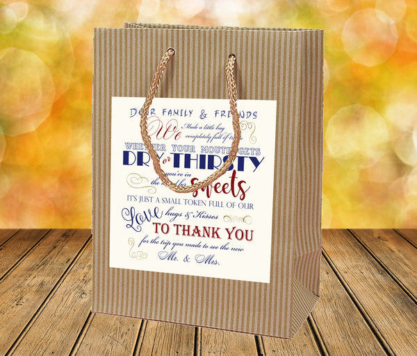 rustic Kraft labeled wedding welcome bag