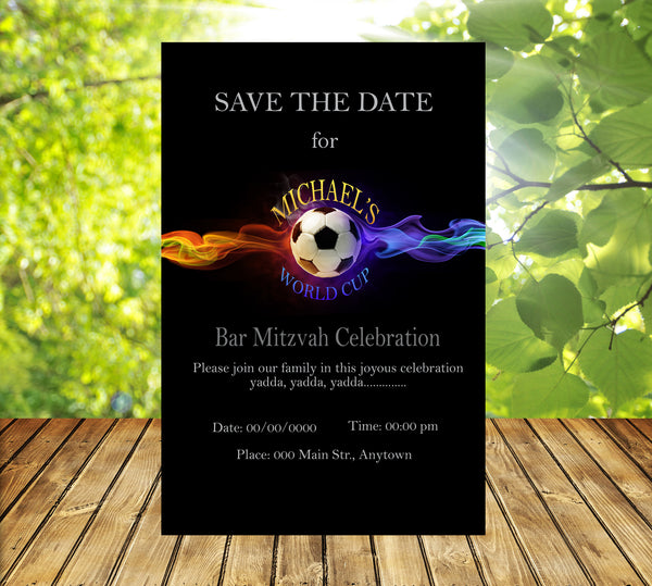 Soccer birthday bar mitzvah invitation welcome letter itinerary