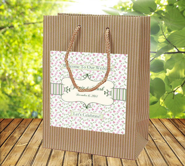pink and sage gingham on Kraft Wedding Welcome Bag