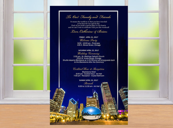 (sku500) Chicago printed stationery | wedding itinerary | party invitation | welcome note - Best Welcome Bags