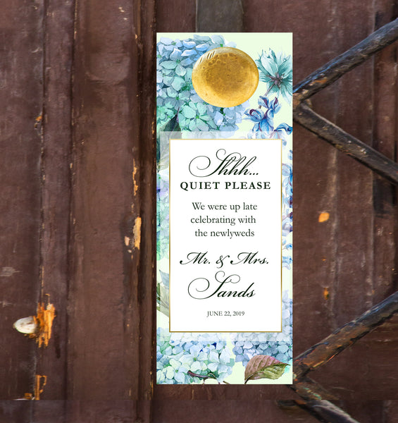 (sku032) hydrangea do not disturb sign | wedding door hanger | wedding favor - Best Welcome Bags
